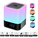 WamGra Night light Bluetooth Speaker,Alarm Clock Bluetooth Speaker Touch Control 48 Led Changing Color Bedside lamp,MP3 Player, Portable Wireless Speaker with Lights Gift for Women Men Kids Teens Girl