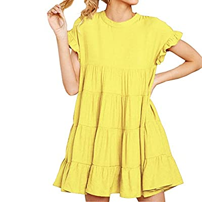 Features: Round Neck, A Hole in Back with A Button and Loop Closure, Full-lined, Regular Fit Layered Dresses, Soft Fabric, Comfortable Wear Occasion: Great for Casual, Daily Wear, Party, Club, Night Out, Vacation, Beach, Dating, Spring, Summer, Autum...