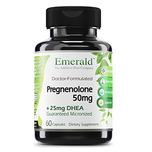 Emerald Labs Pregnenolone 50mg with 25mg DHEA - Female Hormone Support for Alleviation of Stress and Reduce Symptoms of PMS and Menopause, Support Energy Levels and Mood - 60 Capsules