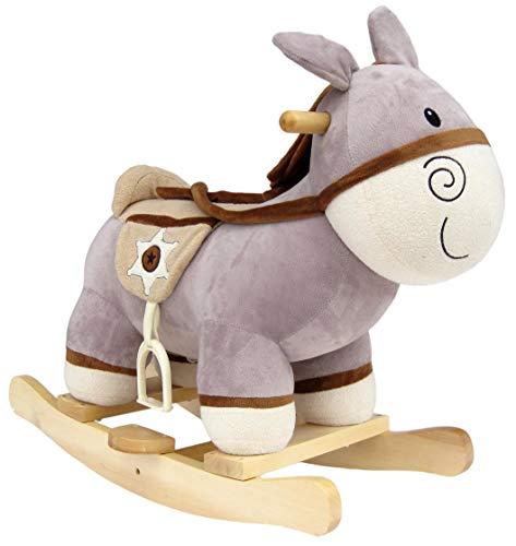 Wagner 9550 - Schaukeltier Esel aus Holz und Plüsch für Kinder und Babys Schaukelpferd Schaukel-Donkey Western