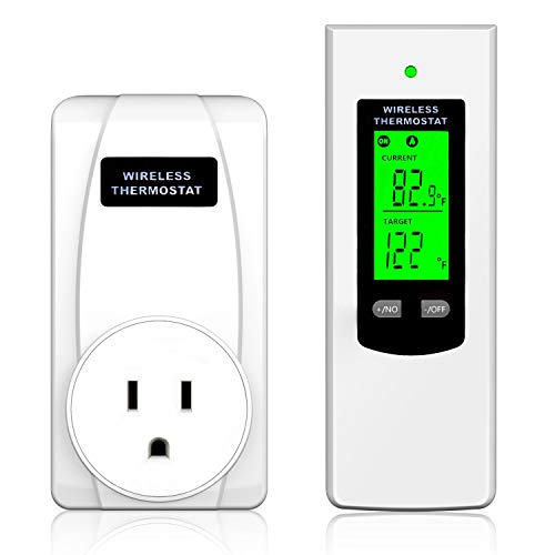Wireless Programmable Thermostat Plug, Hycency Automatic Heating & Cooling Outlet Thermostat Wireless Temperature Controller Built in Temp Sensor with Remote Control LCD Display (1 Pcs)