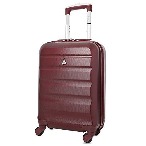 Aerolite Leichtgewicht ABS Hartschale 4 Rollen Handgepäck Trolley Koffer Bordgepäck Kabinentrolley Reisekoffer Gepäck, Genehmigt für Ryanair, easyJet, Lufthansa, und viele mehr, Weinrot