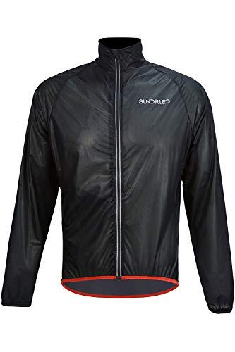 Sundried Lightweight Packable Running Rain Jacket (Black, M)