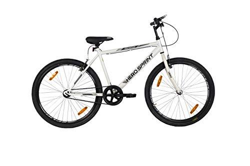 Hero Sprint Men's Frame 18 Inches Santiago 26T SS Hybrid City Bike, White (SSAN26WHWH01HM)