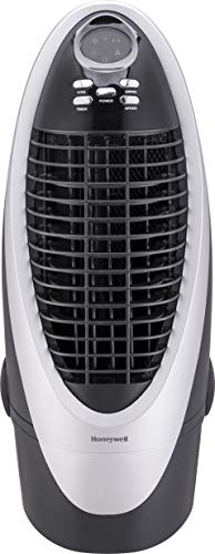 Honeywell Fan & Humidifier with Detachable Tank, Carbon Dust Filter & Remote Control, CS10XE Indoor Portable Evaporative Cooler, 300 CFM, Silver/Gray