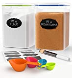 Extra Large Tall Food Storage Containers 175oz, For Flour, Sugar, Baking Supplies - Airtight Kitchen & Pantry Organization Bulk Food Storage, BPA-Free - 2 PC Set - Scoops, Pen & 8 Labels - Chef's Path