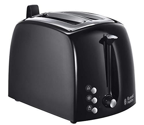 Russell Hobbs Toaster Textures+, 2 extra breite Toastschlitze, Brötchenaufsatz & integrierte Toast-Zange, 6 einstellbare Bräunungsstufe + Auftau- & Aufwärmfunktion, 850W, Toaster schwarz 22601-56