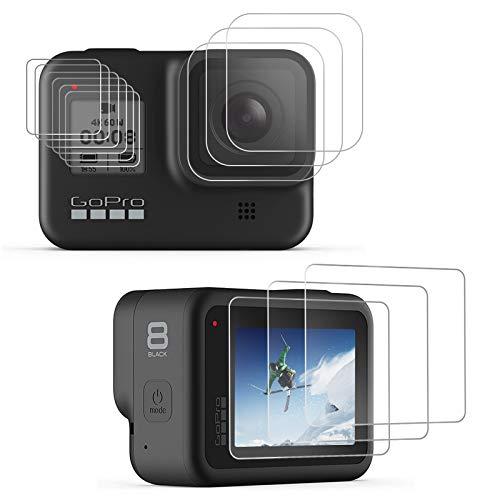 laxikoo Pellicola Vetro Temperato per GoPro Hero 8 Black, [12 Pezzi] Protezioni per lo schermo LCD + Pellicola proteggi lente in vetro temperato + HD Protezione Schermo Piccolo per GoPro Hero 8 Camera