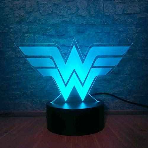 Cool Wonder Woman Shape Colorazione Luce notturna USB Desk Home Party Comodino Decorazione Regalo di...
