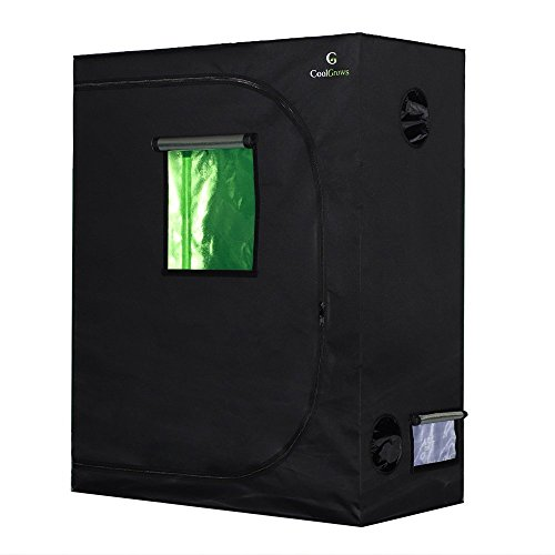CoolGrows Grow Tent, 48'x24'x60' Mylar Hydroponic Grow Tent with Observation Window and Floor Tray for Indoor Gardening Plant Growing (48'x24'x60')