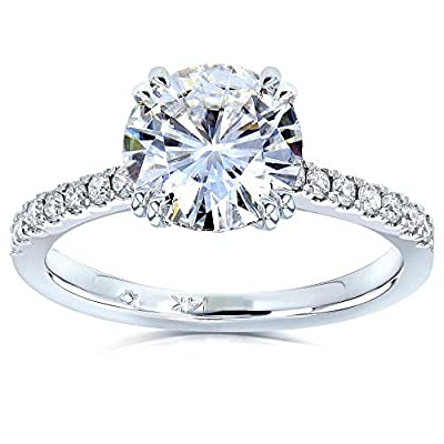 Large Solitaire Center with Side Diamonds Classic Engagement Ring All Genuine Lab Grown Diamonds and Moissanite. Floating Center Setting. Made in USA. 100% Eco-Friendly Conflict-Free Materials. Designed and manufactured by Kobelli from Los Angeles, C...