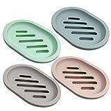 Lot de 4 porte-savon Senhai pour douche, savon avec vidange pour comptoir de salle de...