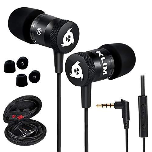 KLIM Fusion Auricolari con Microfono + Audio di Alta qualit + Cuffie di Lunga Durata con Memory Foam + Garanzia 5 Anni - Jack 3.5 mm per iOS Android PC Console + Nuova Versione 2020 + Nero