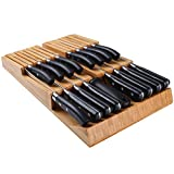 Bamboo In-Drawer Removable Knife Block Set for 16 Knives(Not Included), Large Washable Kitchen Knife set, Detachable Kitchen Storage Holder for Sharpening Steel and Cutter
