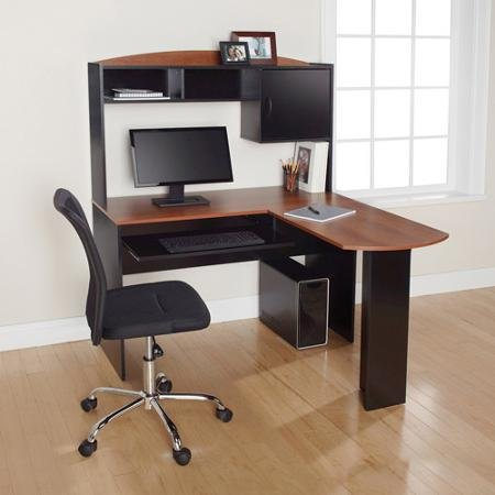 Corner L Shaped Office Desk with Hutch (Black and Cherry)