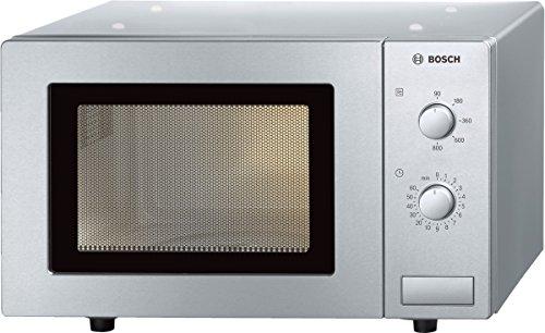 Bosch Electroménager HMT72M450 Série 2, Micro-ondes Pose-libre, 46 x 29 cm, 800 W, 5 puissances, Bouton rotatif - Inox Argent