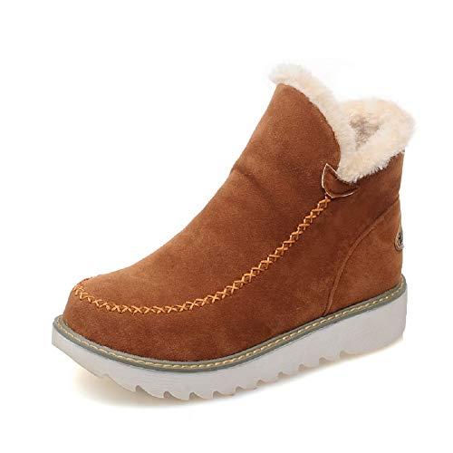 Botas Mujer Invierno Nieve Cuña Botines Fur Plataforma Calientes Cortas Casa Planas Alpargatas Tobillo Ante 3cm Zapatos Beige Marrón Negras 34-43 BR36