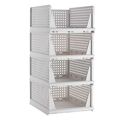 Pinkpum Stackable Plastic Storage Basket-Foldable Closet...