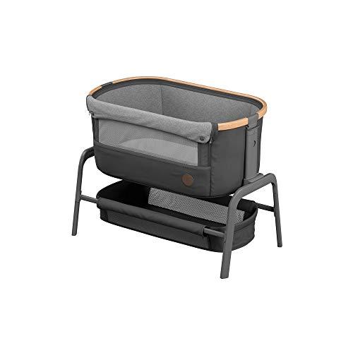Maxi-Cosi Iora Beistellbett, hochwertiges, höhenverstellbares Babybett, nutzbar ab der Geburt bis max. 9 kg, Inkl. Matratze und Tasche, kompakt faltbar, passt neben fast jedes Bett, essential graphite