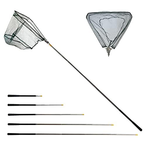 YUSHI Retino da Pesca Pieghevole Estensibile,Guadino per Pesca Telescopico,Alluminio Manico Estendi la Lunghezza di 1,9 m,Triangolare Durevole in Acciaio Inossidabile,per Pesca di Uccelli,Acquario
