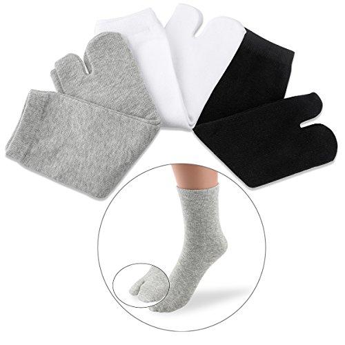 Nuolux - Calzini in cotone per dita dei piedi, 3 pezzi, per donne e uomini (bianco+grigio+nero)