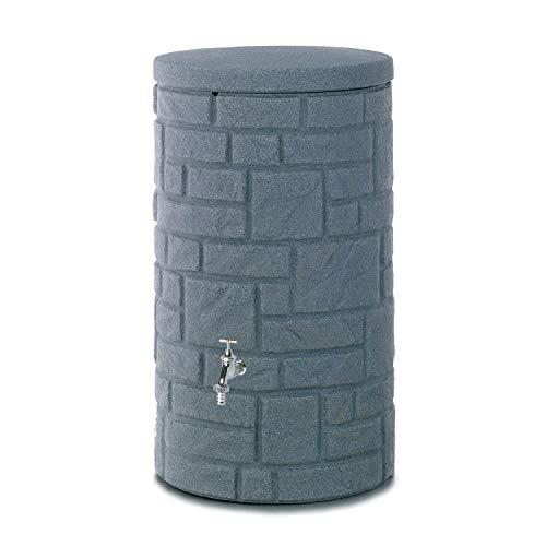 Regentonne anthrazit Regenwassertank Arcado 230 Liter aus UV- und witterungsbeständigem Material. Regenfass bzw. Regenwassertonne mit kindersicherem Deckel und hochwertigen Messinganschlüssen