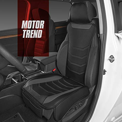 Motor Trend LuxeFit Gray Faux Leather Car Seat Cover for Front Seats, 1 Piece – Padded Universal Fit Luxury Cover, Faux Leather Sideless Protector for Car Truck Van & SUV