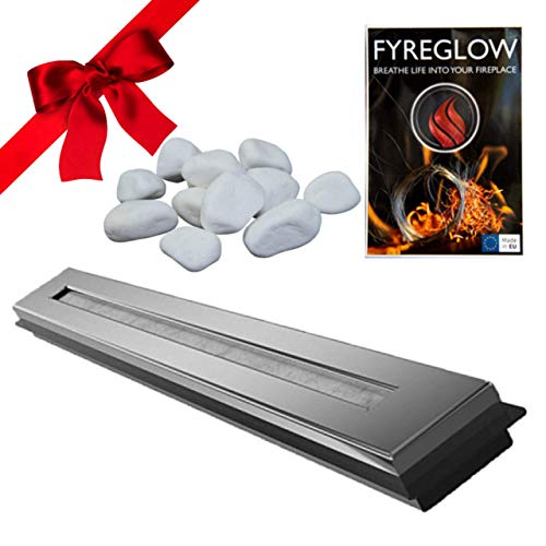 Ethanol Burner/Bio Ethanol Fireplace Insert, 93cm, Stainless Steel, TÜV Certified, Gift Pack with Fyreglow and Decorative Stones