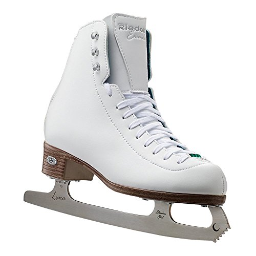 Riedell Skates - 19 Emerald Jr. - Youth Recreational Figure Ice Skates with Steel Luna Blade for Girls | White | Size 2 Junior