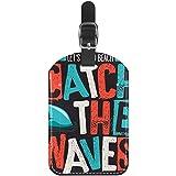 Etiquetas de Equipaje Tiburón con Eslogan de Surf Etiquetas de Cuero para Maletas de Viaje 1 Paquete