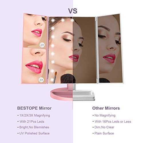 BESTOPE Makeup Vanity Mirror with Lights, 2X/3X Magnification, 21 Led Lighted Mirror with Touch Screen,180° Adjustable… 3