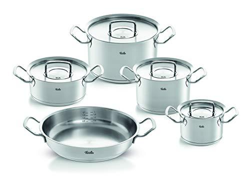 Fissler Pure-profi collection - Set di 5 pentole in acciaio INOX, con coperchio in metallo (3 pentole, 1 pentola, 1 padella, 1 padella) - induzione