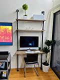 Industrial Style Laptop Desk Solid Wood Computer Desk Storage Table...