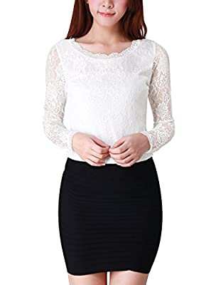 Scalloped Neckline Round Neck Sheer Long Sleeves, Slim Fit Hand Wash Cold Model Body Size: Height: 5ft 5inches, Chest: 32 1/4inches, Waist: 25 1/4inches, Hip: 33inches, model is wearing a X-Small