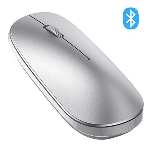 OMOTON Bluetooth Maus kompatible mit iPad Tablet(iPadOS 13/ iOS 13 oder höher System), kabllose Maus für Bluetooth-fähigen komputer,Laptops,PCs,Notebooks,Mac-Serien,Silber
