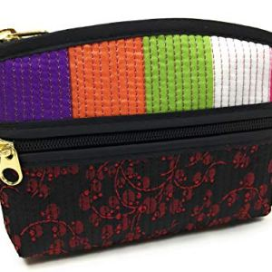 Bag FabCloud mini Rainbow floral black bright by WiseGloves, pocket cosmetic make up pouch bag handbag accessory 1