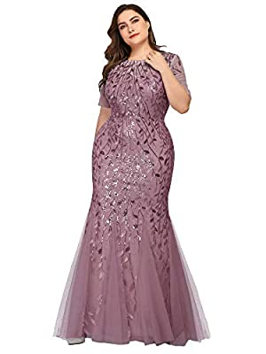 Fully lined, no built-in bras, no stretch Features: short Sleeves, sequin mermaid dress, round neckline decorated with sequin , Maxi Dress. Perfect for Formal Evening, Prom, Wedding as Bridesmaid and Mother of the Bride and Groom, Cocktail Party, Bal...