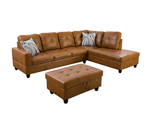 Ainehome Furniture Sectional Sofa Set, Living Room Sofa Set, Leather Sectional Sofa (Right Hand Facing,Ginger)