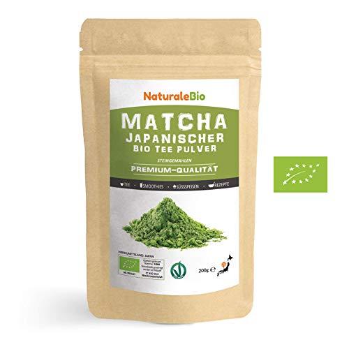 Matcha Tee Pulver Bio [Premium-Qualität] 200g. Original Green Tea aus Japan. Japanischer Matcha ideal zum Trinken. Grüntee-Pulver für Latte, Smoothies, Matcha-Getränk. Hergestellt in Uji, Kyoto.