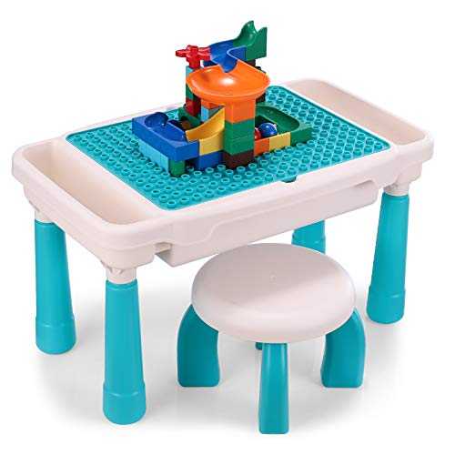 Kids Activity Table Set, Toddler Table and Chair Set, All-in-1 Multi Activity Table Set with Storage Area, 50PCS Large Building Blocks Compatible with All Major Brands, Outdoor & Indoor