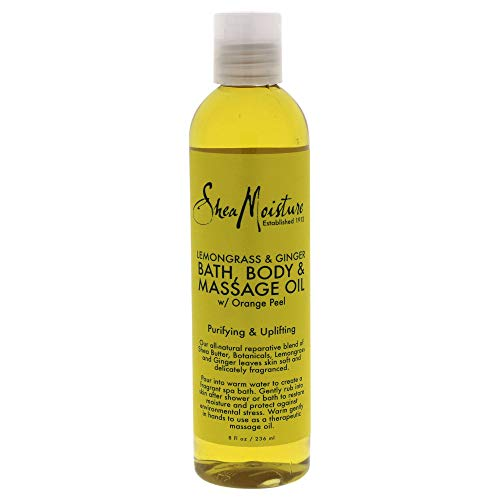 SheaMoisture Lemongrass & Pure Ginger Bath, Body & Massage Treatment Oil, Use on Hands, Cuticle, and Dry Skin for Healthier Younger Looking Skin, Restores Moisture - 8 oz