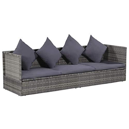 Festnight- Gartensofa Sofabett Lounge-Bett aus Poly Rattan   Gartenmöbel Sofagarnitur mit Sitzpolster 200 x 60 x 58 cm Grau und Dunkelgrau