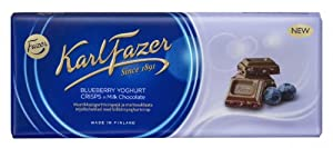 Karl Fazer Blueberry Yoghurt Crisps in Milk Chocolate You will get 8 chocolate bars 6.7 oz or 190 g each Made in Finland