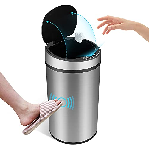Maypott Smart Automatic Trash Can, 12 Liter 3.2 Gallon Stainless Steel Waterproof Touchless Garbage can with Motion Sensor Lid for Kitchen Home Hotel