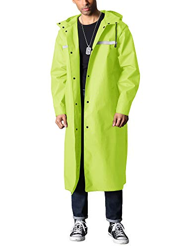 TACVASEN Herren Lang Regenmantel Wasserdicht Wiederverwendbar Regenponcho mit Kapuze Wandern Angeln Regenjacke Gr. M, Glänzendes Grün