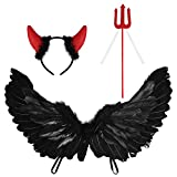 KESYOO 3Pcs Halloween Devil Costume Cosplay Darkness Angel Wings Devil Horn Headband Red Pitchfork Devil Accessories for Halloween Party