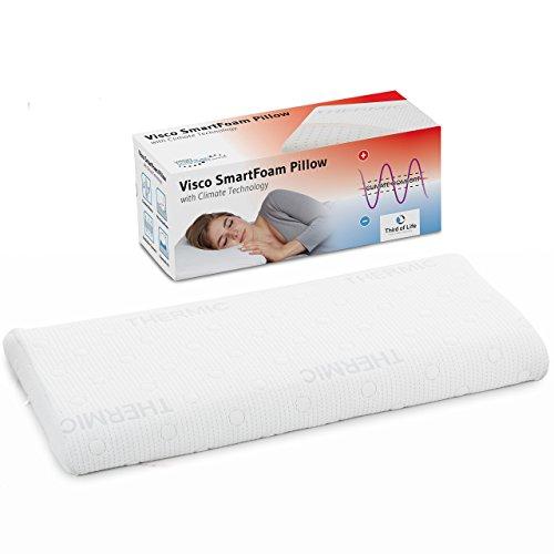 Kopfkissen 40x80 HADAR low für Bauchschläfer, orthopädisches Bauchschläferkissen mit zertifizierter Ergonomie aus weichem Visco-Schaum von nur 6 cm Höhe, mit Klima-Bezug, passt in 40 x 80 Bezug