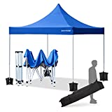 ECOTOUGE Pop up Canopy (10x10, Blue, Wheeled) with Roller Bag,1-Person Setup,Straight Leg,Waterproof Shade Tent for Outside