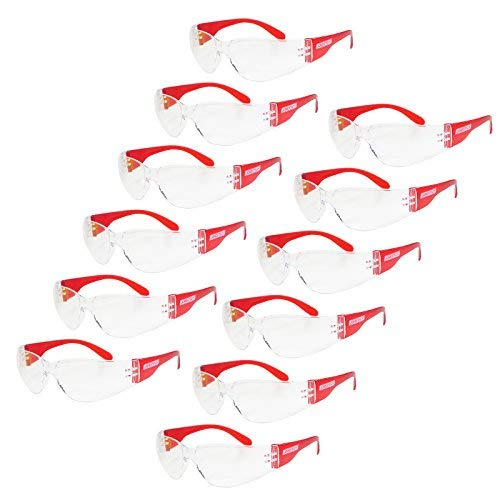 JORESTECH Eyewear Protective Safety Glasses, Polycarbonate Impact Resistant Lens Pack of 12 (Clear, Red)