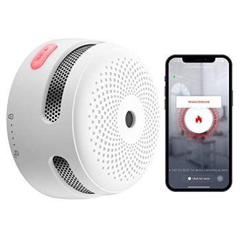 X-Sense Détecteur de Fumée Intelligent avec Pile au Lithium Remplaçable & Bouton Silence, Détecteur de Fumée Wi-Fi, Fonction Auto-Contrôle, Conforme à la Norme EN14604, XS01-WT